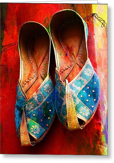 Occasion Greeting Cards - Colorful Footwear Juttis Sales Jaipur Rajasthan India Greeting Card by Sue Jacobi