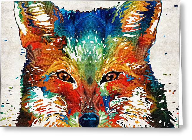 Wild Animals Paintings Greeting Cards - Colorful Fox Art - Foxi - By Sharon Cummings Greeting Card by Sharon Cummings