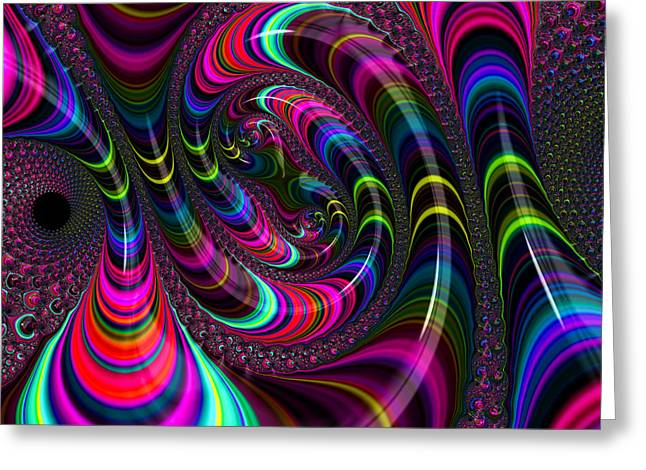 Psychedelic Space Art Greeting Cards - Colorful fractal art Greeting Card by Matthias Hauser