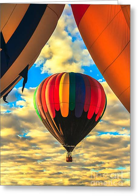 Haybale Greeting Cards - Colorful Framed Hot Air Balloon Greeting Card by Robert Bales
