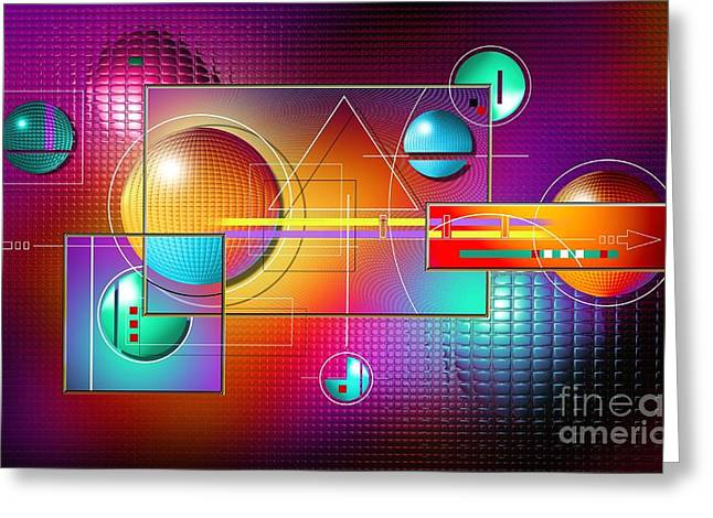 Rectangles Digital Art Greeting Cards - Colorful Greeting Card by Franziskus Pfleghart