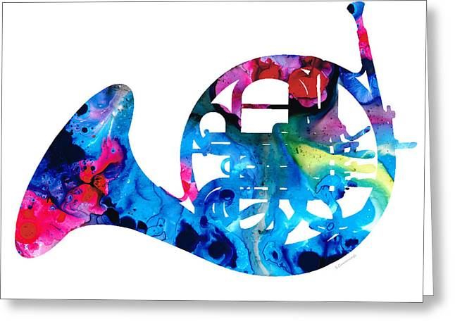 College Room Greeting Cards - Colorful French Horn 2 - Cool Colors Abstract Art Sharon Cummings Greeting Card by Sharon Cummings