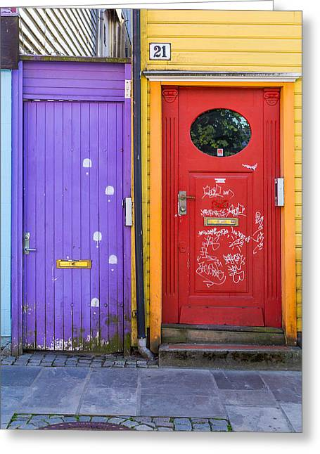 Colorful Front Doors  Greeting Card by Aldona Pivoriene