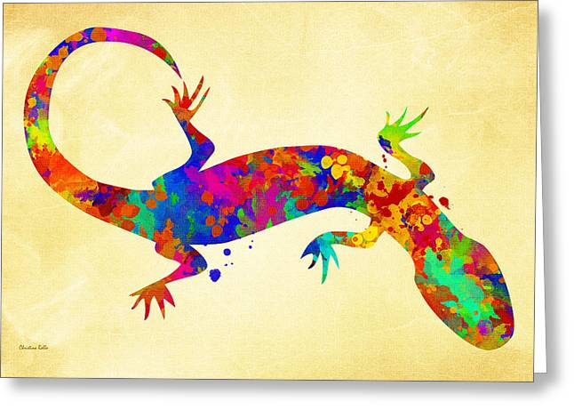 Gecko Greeting Cards - Gecko Watercolor Art Greeting Card by Christina Rollo