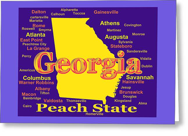 La Grange Greeting Cards - Colorful Georgia State Pride Map Silhouette  Greeting Card by Keith Webber Jr
