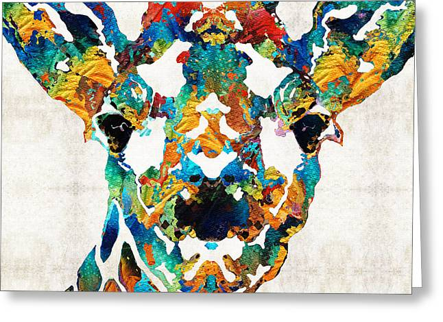 Safari Prints Greeting Cards - Colorful Giraffe Art - Curious - By Sharon Cummings Greeting Card by Sharon Cummings