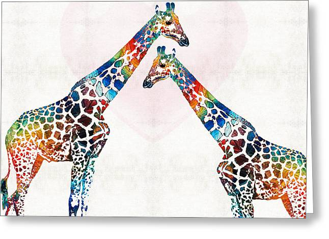 Baby Sister Greeting Cards - Colorful Giraffe Art - Ive Got Your Back - By Sharon Cummings Greeting Card by Sharon Cummings