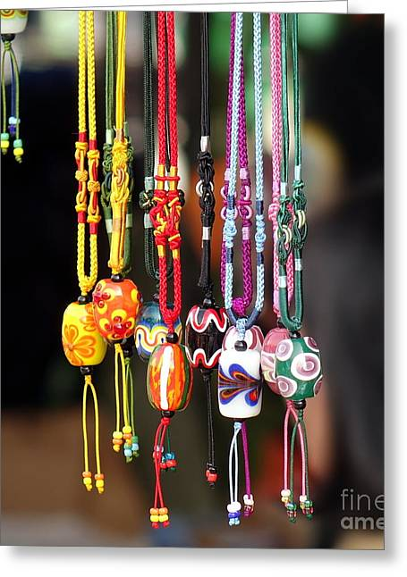 Unique Jewelry Greeting Cards - Colorful Glass Beads Jewelry Greeting Card by Yali Shi