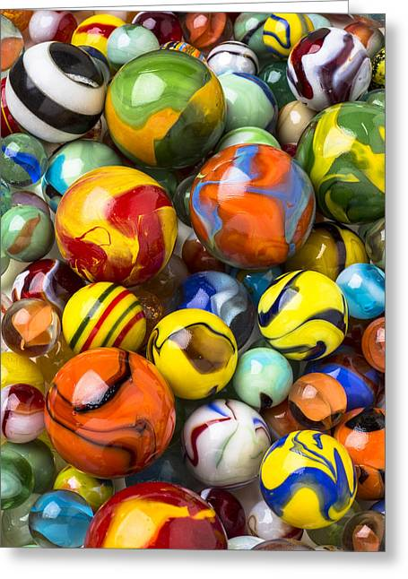 Piled Greeting Cards - Colorful glass marbles Greeting Card by Garry Gay