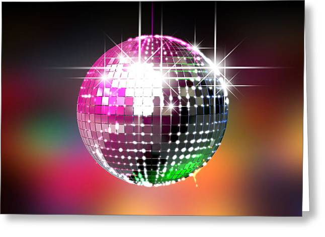Disco Greeting Cards - Colorful Glinting Disco Ball Greeting Card by Allan Swart