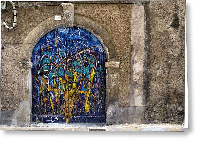 French Doors Greeting Cards - Colorful Graffiti Door Greeting Card by Nomad Art And  Design