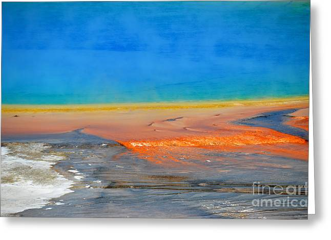 Hot Springs Yellowstone Midway Hot Springs Yellowstone Hot Greeting Cards - Colorful Grand Prismatic Close Up Greeting Card by Debra Thompson