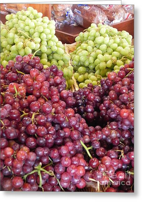 Cook Book Photo Greeting Cards - Colorful Grapes Greeting Card by Chrisann Ellis
