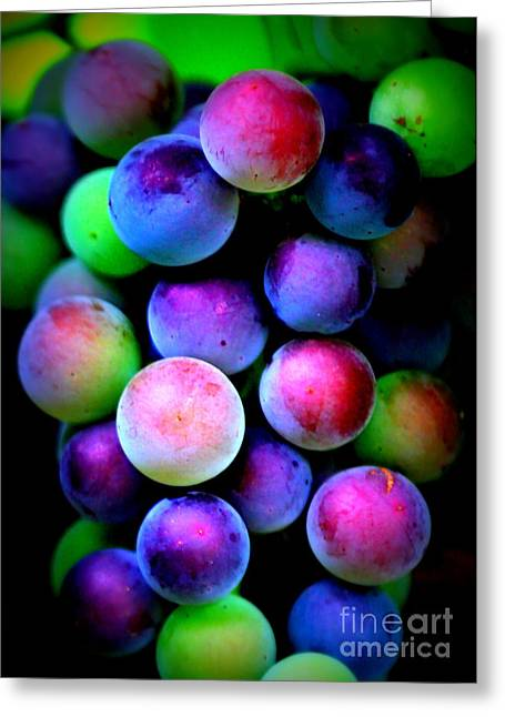 Colorful Grapes - Digital Art Greeting Card by Carol Groenen