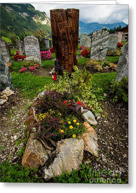 Headstones Greeting Cards - Colorful Gravestone - Kander Valley - Switzerland Greeting Card by Gary Whitton