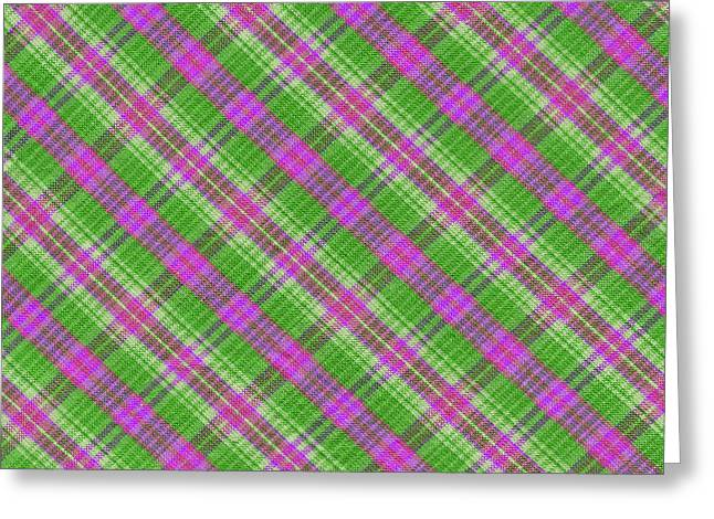 Checked Tablecloths Photographs Greeting Cards - Colorful Green and Pink Plaid Textile Background Greeting Card by Keith Webber Jr