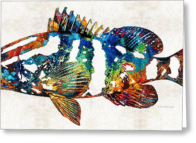 Tropical Fish Greeting Cards - Colorful Grouper 2 Art Fish by Sharon Cummings Greeting Card by Sharon Cummings