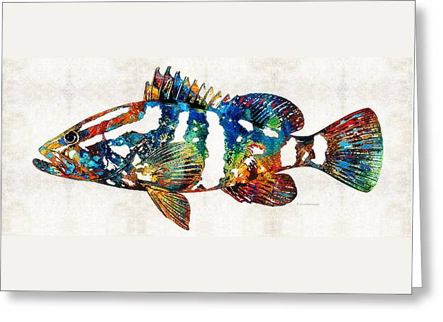 Scuba Diving Paintings Greeting Cards - Colorful Grouper 2 Art Fish by Sharon Cummings Greeting Card by Sharon Cummings