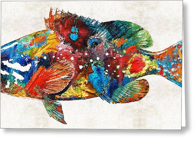 Reef Fish Paintings Greeting Cards - Colorful Grouper Art Fish by Sharon Cummings Greeting Card by Sharon Cummings