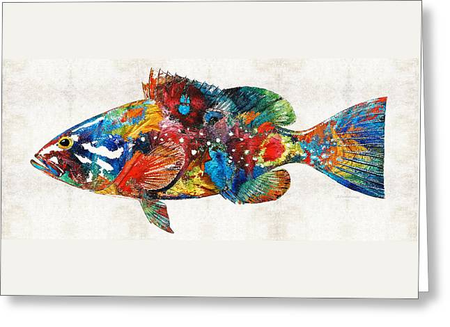 Scuba Diving Paintings Greeting Cards - Colorful Grouper Art Fish by Sharon Cummings Greeting Card by Sharon Cummings