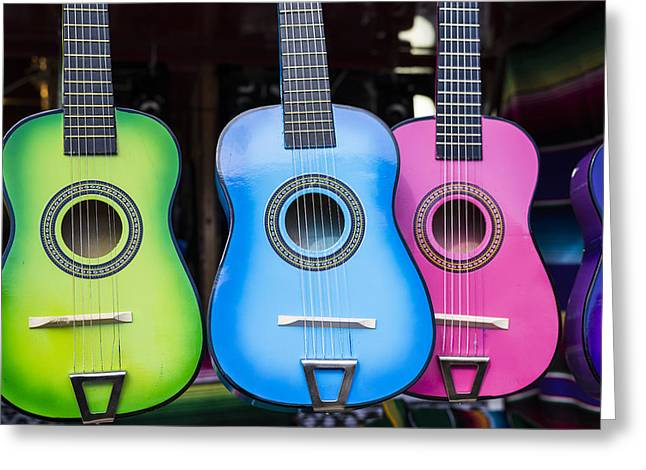 Music Time Greeting Cards - Colorful Guitars Greeting Card by Joseph S Giacalone