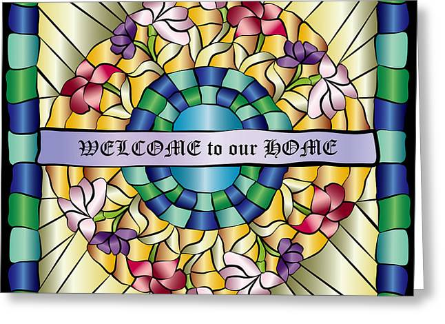 Glass Flowers And Leaves Greeting Cards - Colorful Hand-Drawn Jewel Stained Glass Flowers Greeting Card by Beverly Claire Kaiya