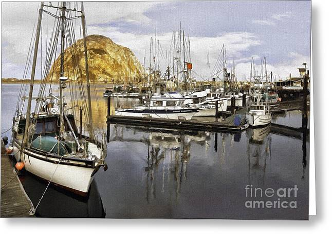 Morro Bay Harbor Greeting Cards - Colorful Harbor II Impasto Greeting Card by Sharon Foster