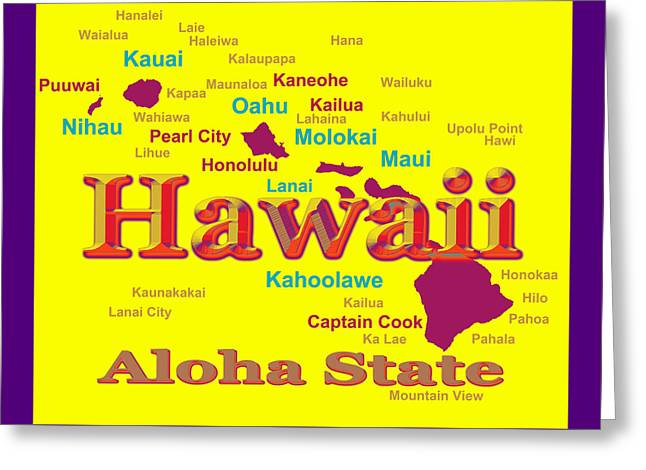 Molokai Greeting Cards - Colorful Hawaii State Pride Map Silhouette  Greeting Card by Keith Webber Jr