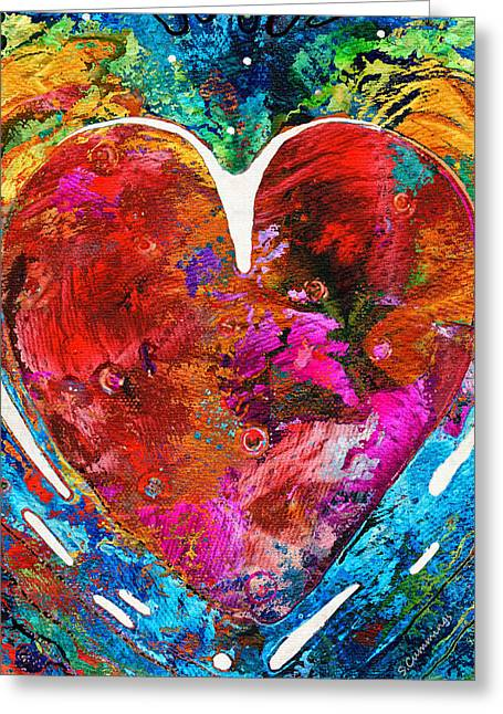 Anniversary Gift Greeting Cards - Colorful Heart Art - Everlasting - By Sharon Cummings Greeting Card by Sharon Cummings