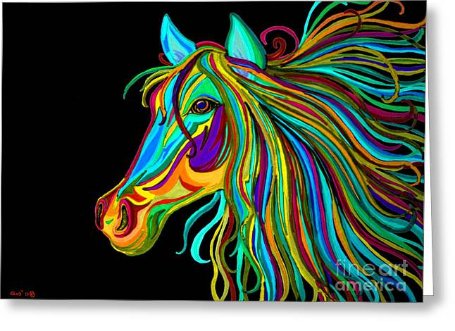 Rainbows Drawings Greeting Cards - Colorful Horse Head 2 Greeting Card by Nick Gustafson