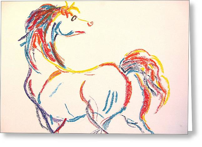 White Tail Pastels Greeting Cards - Colorful Horse Greeting Card by Holly Wright
