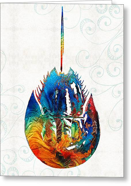 Horseshoe Greeting Cards - Colorful Horseshoe Crab Art by Sharon Cummings Greeting Card by Sharon Cummings