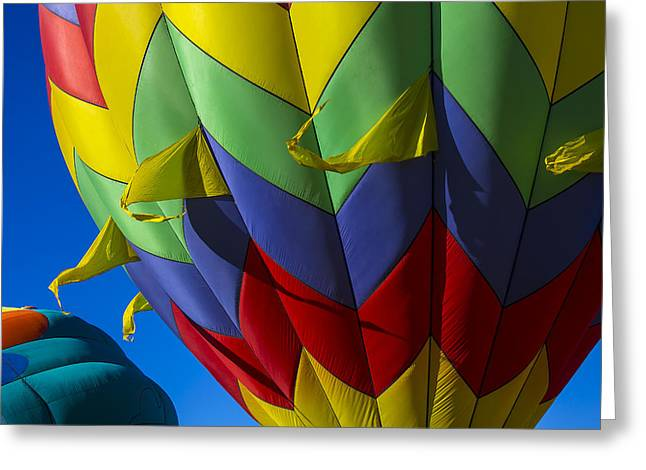 Flags Flying Greeting Cards - Colorful hot air balloon Greeting Card by Garry Gay