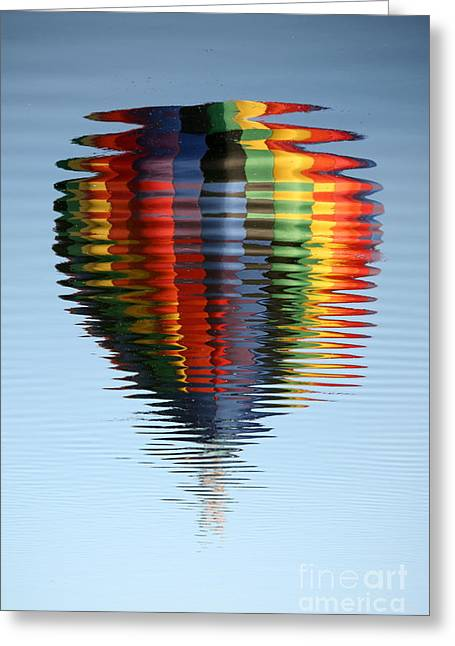 Colorful Hot Air Balloon Ripples Greeting Card by Carol Groenen