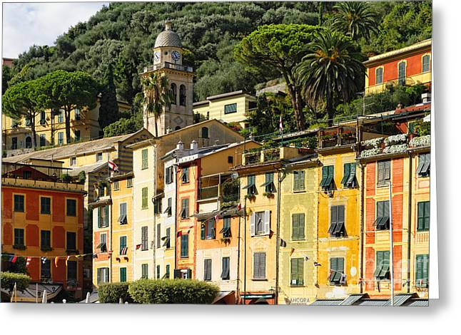 Portofino Italy Greeting Cards - Colorful House Facades of Portofino Greeting Card by George Oze