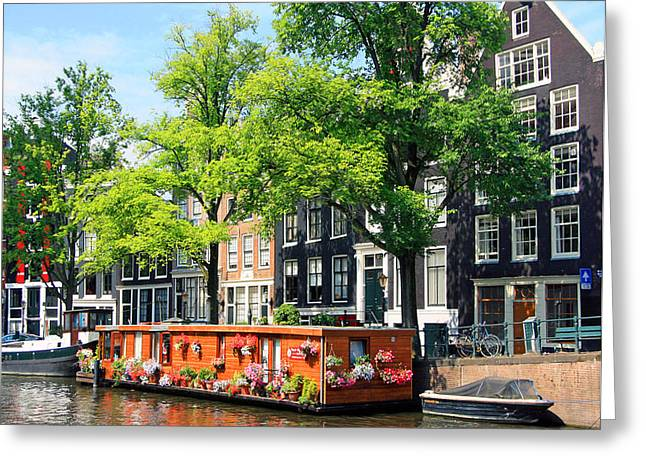 Reflections Of Sky In Water Greeting Cards - Colorful Houseboat in Amsterdam Greeting Card by Sharon Kalniz