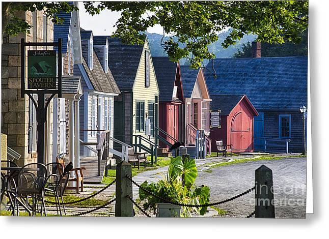 New England Village Greeting Cards - Colorful Houses in Mystic Seafaring Village Greeting Card by George Oze