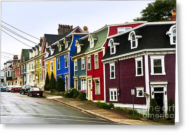 Colorful Houses In Newfoundland Greeting Card by Elena Elisseeva