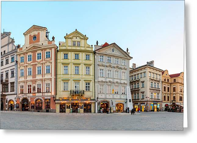 Town Square Greeting Cards - Colorful Houses On Old Town Square Greeting Card by Panoramic Images