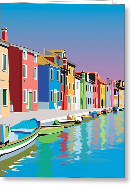 Photo-realism Mixed Media Greeting Cards - Colorful Houses Greeting Card by Robert Korhonen