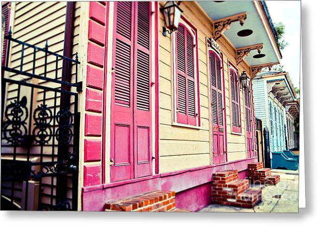 French Quarter Doors Greeting Cards - Colorful Houses Greeting Card by Sylvia Cook