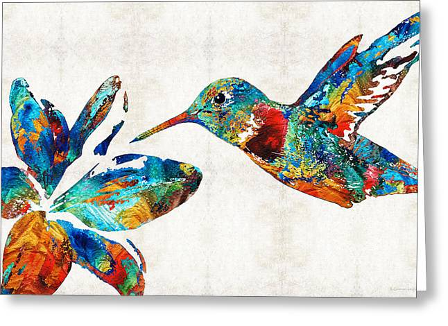 Beach Decor Paintings Greeting Cards - Colorful Hummingbird Art by Sharon Cummings Greeting Card by Sharon Cummings