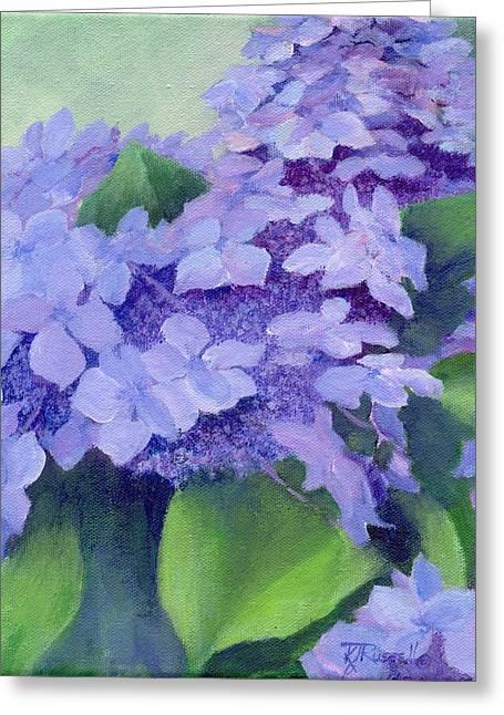 K Joann Russell Greeting Cards - Colorful Hydrangeas Original Purple Floral Art Painting Garden Flower Floral Artist K. Joann Russell Greeting Card by K Joann Russell