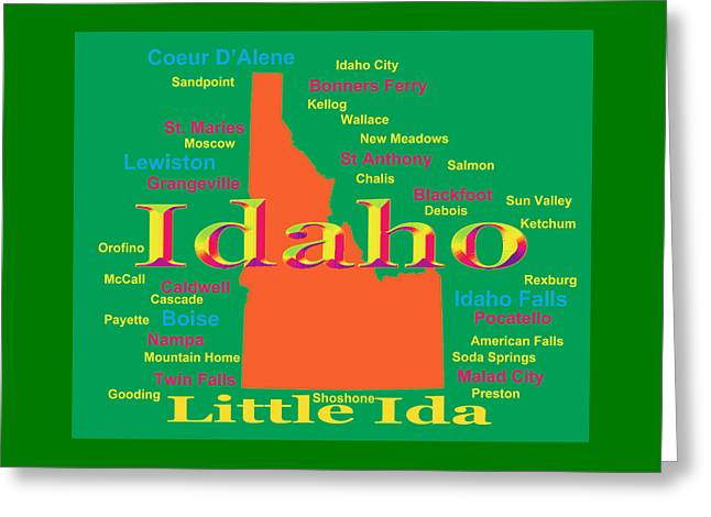 Idaho Greeting Cards - Colorful Idaho State Pride Map Silhouette  Greeting Card by Keith Webber Jr