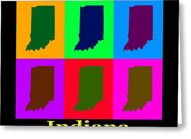Indiana Greeting Cards - Colorful Indiana State Pop Art Map Greeting Card by Keith Webber Jr