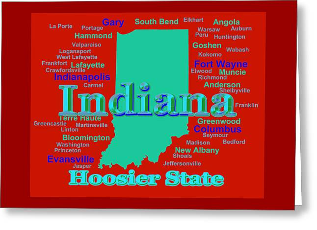 Bloomington Greeting Cards - Colorful Indiana State Pride Map Silhouette  Greeting Card by Keith Webber Jr