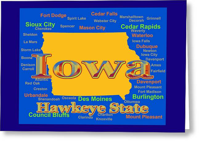 Des Moines Greeting Cards - Colorful Iowa State Pride Map Silhouette  Greeting Card by Keith Webber Jr