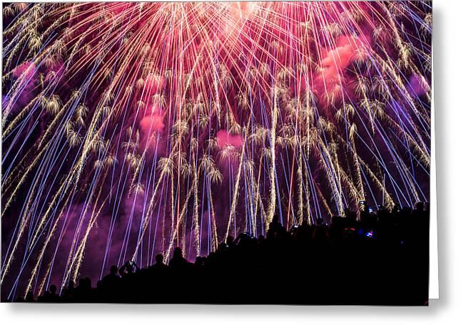 Fireworks. Kites Greeting Cards - Colorful July 4th Greeting Card by Yoshiki Nakamura