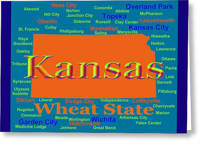 Leavenworth Greeting Cards - Colorful Kansas State Pride Map Silhouette  Greeting Card by Keith Webber Jr