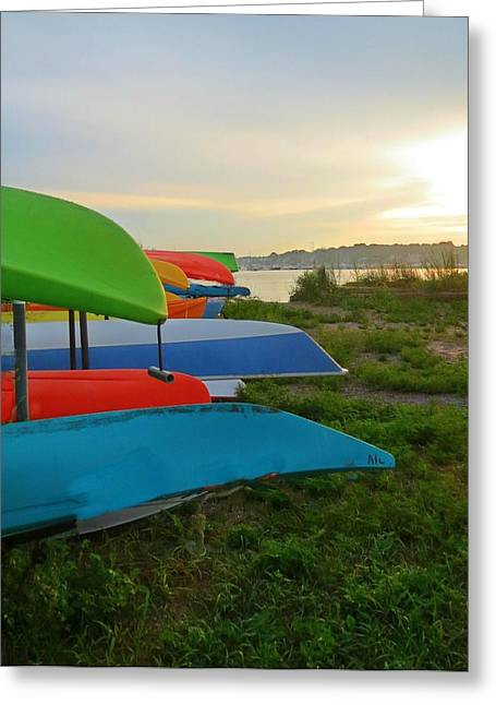 Customizable Greeting Cards - Colorful Kayaks Greeting Card by Anne Sterling